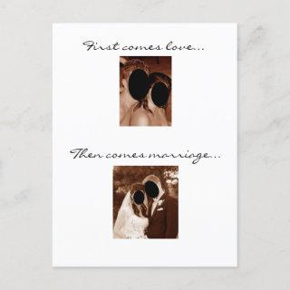 First comes love... We're having a baby! Announcement Postcard