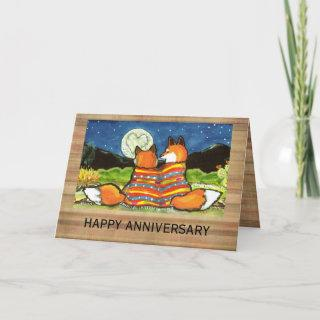 """""""Flamin' Love"""" Red Foxes Romantic Anniversary Card"""