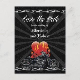 Flaming Love Biker Save the Date Announcement Postcard