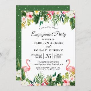 Flamingo Engagement Party Tropical Leaves Floral Invitation