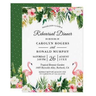 Flamingo Tropical Leaves Floral Rehearsal Dinner Invitations