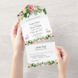 Flamingos Tropical Palm Leaves Floral Wedding All In One