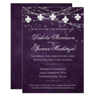 Fleur de Lis Eggplant Purple Lights | Dark Wedding Invitation