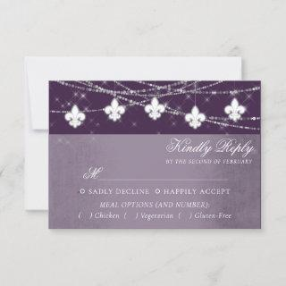 Fleur de Lis Eggplant Purple Lights | Moody Entree RSVP Card