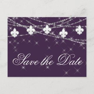 Fleur de Lis Eggplant Purple Lights | Plum Wedding Announcement Postcard