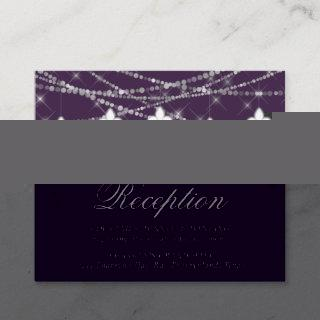 Fleur de Lis Eggplant Purple Lights | Reception Enclosure Card