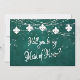 Fleur de Lis Green Lights |  Be My Maid of Honor