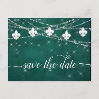Fleur de Lis Green Lights | Bold Themed Wedding Announcement Postcard