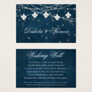 Fleur de Lis Navy Blue Light | Rustic Wishing Well