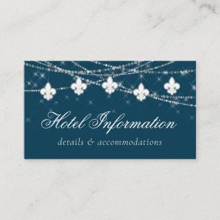 Fleur de Lis Navy Blue Lights | Hotel Information Enclosure Card