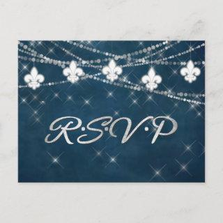 Fleur de Lis Navy Blue Lights | Rustic Reception Invitations Postcard