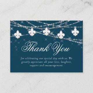 Fleur de Lis Navy Blue Lights | Rustic Thank You Enclosure Card