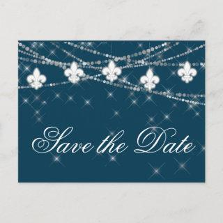 Fleur de Lis Navy Blue Lights | Rustic Wedding Announcement Postcard