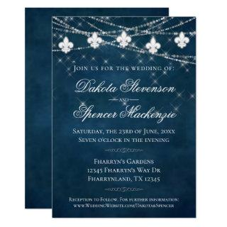 Fleur de Lis Navy Blue Lights | Rustic Wedding Invitations