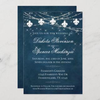 Fleur de Lis Navy Blue Lights | Rustic Wedding Invitation