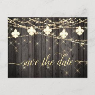 Fleur de Lis Rustic Lights | Boho Chic Wedding Announcement Postcard
