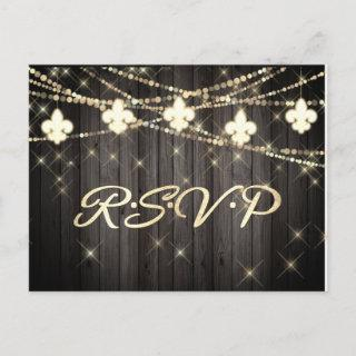 Fleur de Lis Rustic Lights | Boho Wedding RSVP Invitations Postcard