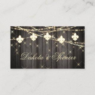 Fleur de Lis Rustic Lights | Boho Wedding Website Enclosure Card