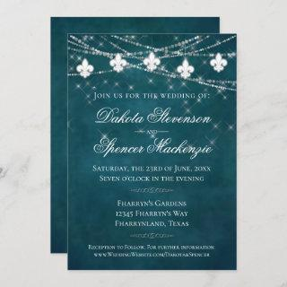 Fleur de Lis Teal Lights | Moody Dark Wedding Invitations