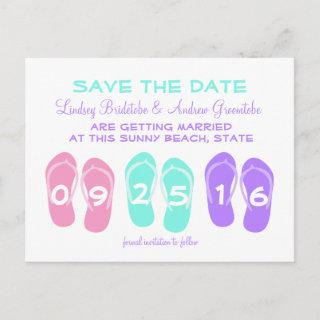 Flip Flop Beach Wedding Save the Date Announcement Postcard