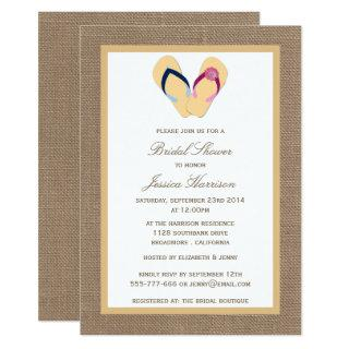 Flip-Flop Sand Beach Burlap Bridal Shower Invites