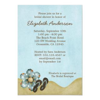Flip Flops Beach Flower Bridal Shower Invitations
