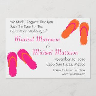 Flip Flops Save The Dates (Hot Pink / Orange) Save The Date