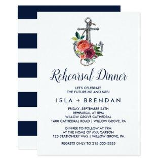 Floral Anchor | Autumn Rehearsal Dinner Invitations
