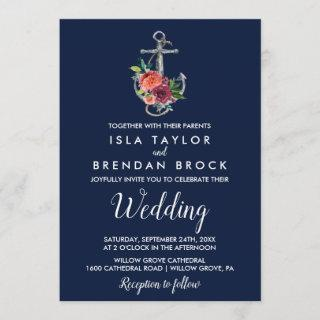 Floral Anchor | Navy Autumn Wedding Invitations