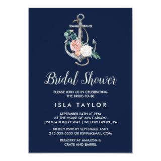 Floral Anchor | Navy Summer Bridal Shower Invitations