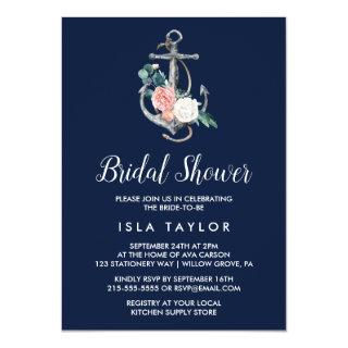 Floral Anchor | Navy Summer Bridal Shower Invitation