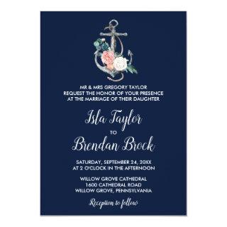 Floral Anchor | Navy Summer Formal Wedding Invitation