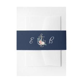 Floral Anchor | Navy Summer Invitations Belly Band
