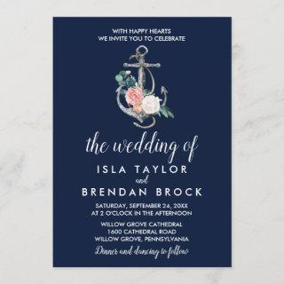 Floral Anchor | Navy Summer The Wedding Of Invitation