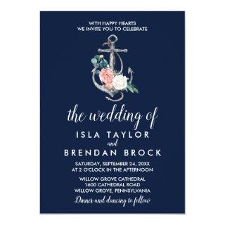 Floral Anchor | Navy Summer The Wedding Of Invitations