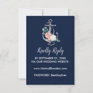 Floral Anchor | Navy Summer Website RSVP Card
