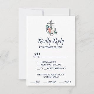 Floral Anchor | Summer Menu Choice RSVP Card