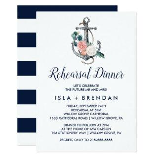 Floral Anchor | Summer Rehearsal Dinner Invitation