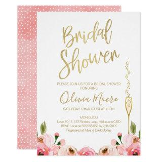Floral and champagne bridal shower Invitations