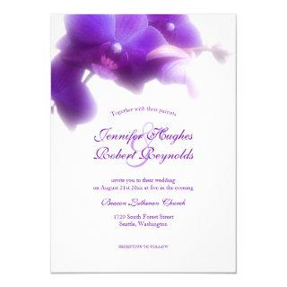 Floral and Elegant Purple Orchid Wedding Invitations