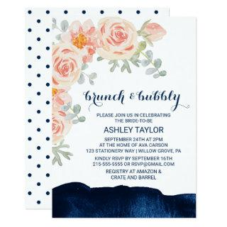 Floral and Navy Watercolor Brunch and Bubbly Invitations