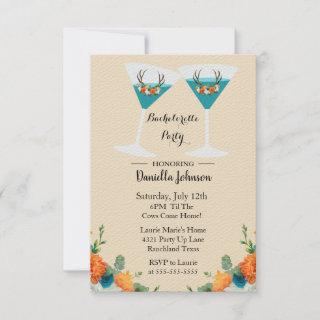 Floral Antlers Bachelorette  Party Invitation