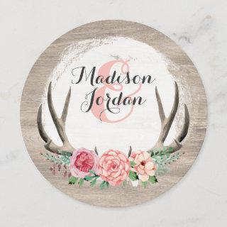 Floral Antlers Rustic Wedding Personalized Casual Invitations