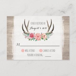 Floral Antlers Rustic Wedding Personalized RSVP