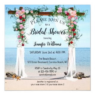 Floral Arch Beach Bridal Shower Invitation