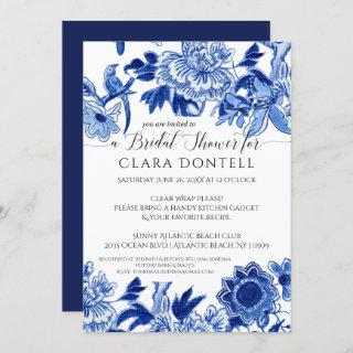 Floral Asian Influence Blue White Bridal Shower