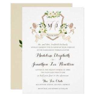Floral Beige White Greenery Elegant Ivory Crest Invitations