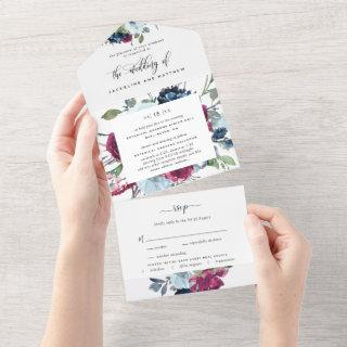 Floral Berry Blue Burgundy Wedding Tear Off RSVP All In One