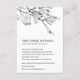 FLORAL BLACK AND WHITE LINE DRAWING WEDDING DETAIL ENCLOSURE CARD