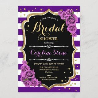 Floral Black Gold Purple Stripes Bridal Shower Invitations